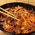 Телешко със зеленчуци и спагети по китайски