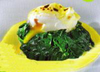 Печено сирене с прясна коприва и яйце по флорентински