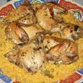 Кокошка със зелен лук и ориз